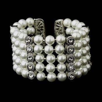 Antique White Pearl & Rhinestone Cuff