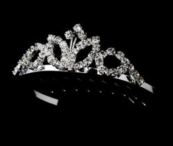 SILVER CLEAR STONES TIARA