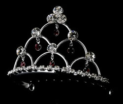 RED CRYSTAL TIARA COMB