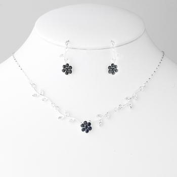 Enchanting Silver Pink Floral Bridal Jewelry Set