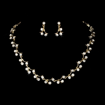 Elegant Gold & Crystal Bridal Jewelry Set
