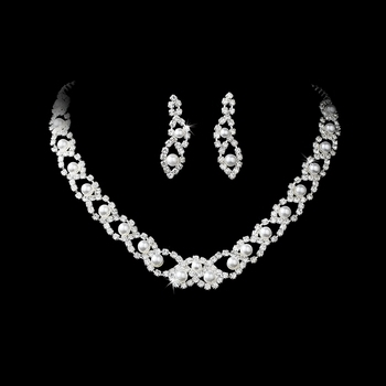 Elegant Silver White Pearl & Crystal Jewelry Set