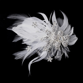 Feather Silver Crystal Bridal Hair Clip