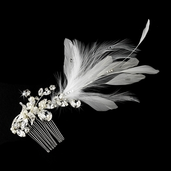 Vintage Bridal Comb w/ White Feathers