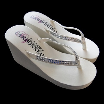 Crystals ~ White High Wedge Flip Flops