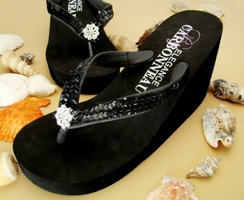 Breeze ~ Black High Wedge Flip Flops