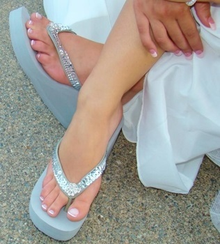 Breeze ~ Silver High Wedge  Flip Flops