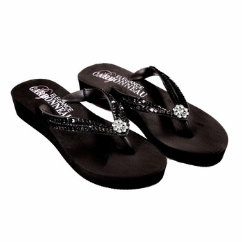 Summer ~ Low Heel Black Flip Flops