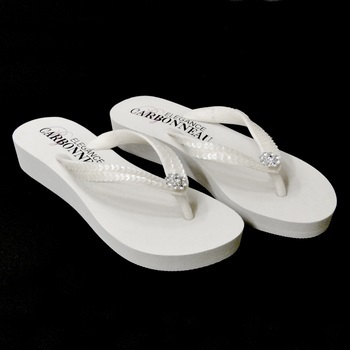 Sunshine ~ Low Heel White  Flip Flops