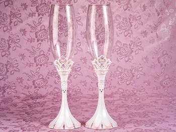 Pink Princess Wedding Toasting Flutes