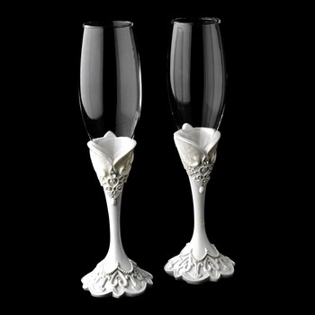 Lovely Victorian Lace Wedding  Flutes
