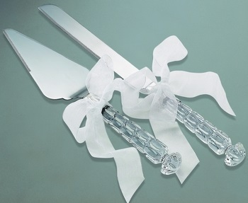 24% Crystal Handle Cake Server Set