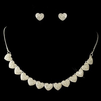 Silver Clear Rhinestone Pave Heart Jewelry