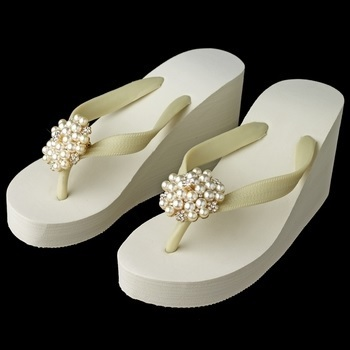 Gold Flower Cluster Rhinestone & Pearl High Wedge Flip Flops