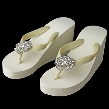 Flower Rhinestone High Wedge