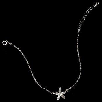 Rhodium AB Rhinestone Starfish