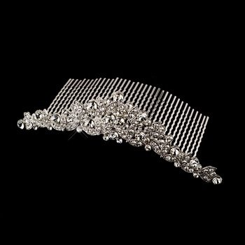 Antique Silver Clear Rhinestone Floral Comb