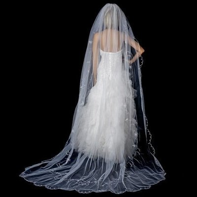 Single Tier Cathedral Veil Accented in Flower Embroidery & Crystals