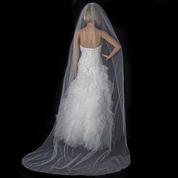 Single Tier Cathedral  Veil with Crystal Rhinestone & Beaded Edge