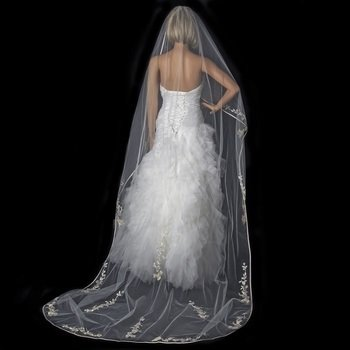Single Layer Floral Embroidery Cathedral Length Ivory Rum Veil with Satin Ribbon Edge