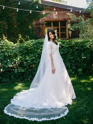 Single Tier Cathedral Veil with Lace Edge