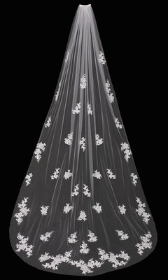 Single Tier Cathedral Veil with Flowers