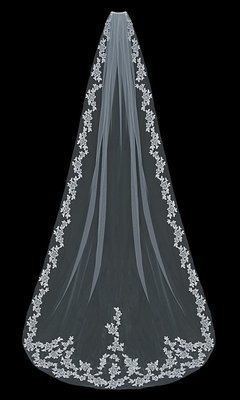 Single Tier Cathedral Veil with lace flowers