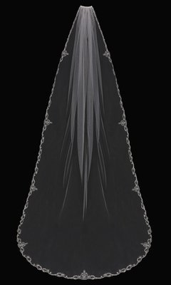 Single Tier Cathedral Veil with embroidered lace edge