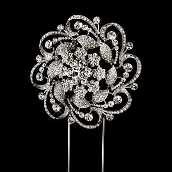 Whirling Rhinestone Covered Flower Cake Topper