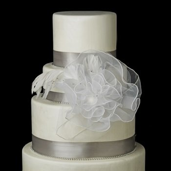 Organza Flower Cake Accessory with Crystals & Feathers