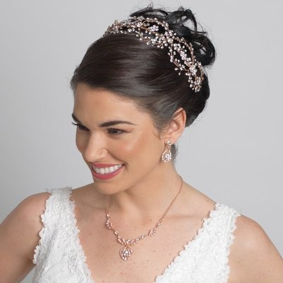 Rose Gold Clear Rhinestone Hair Vine Headband