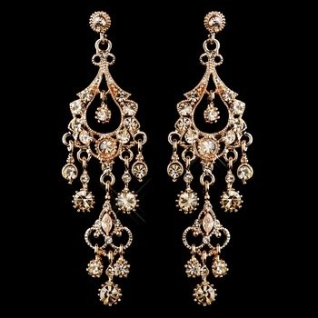 Antique Rose Gold Champagne Crystal Chandelier Earrings