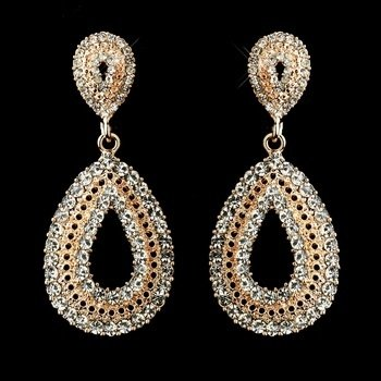 Rose Gold Plated Clear Rhinestone Earrings