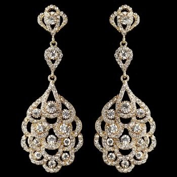 Light Gold Clear Rhinestone Chandelier Bridal Wedding Earrings