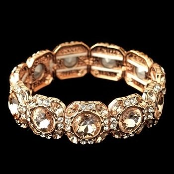 Rose Gold Clear Rhinestone Stretch Bracelet