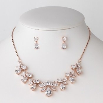 Rose Gold Clear CZ Crystal Bridal Wedding Jewelry Set