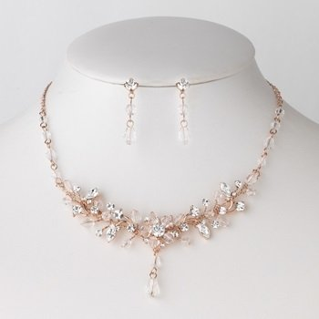 Rose Gold Swarovski Crystal Bridal Wedding Jewelry