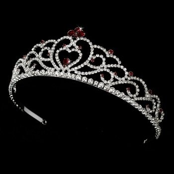 Regal Rhinestone Heart Princess Tiara in Silver with Red Accents