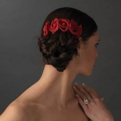 Charming Red Flower Bridal Hair Comb