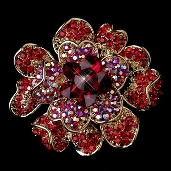 Gold Two Tone Red AB Flower Brooch
