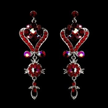 Silver Red Multi Crystal Chandelier Earrings