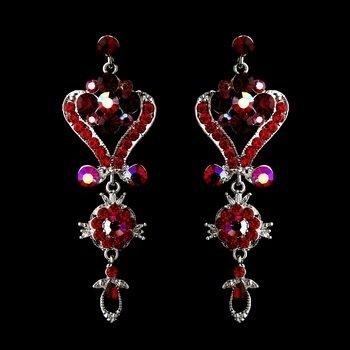 Silver Red Multi Crystal Chandelier Earrings