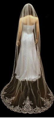 Regal Length Silver Thread Cathedral Veil