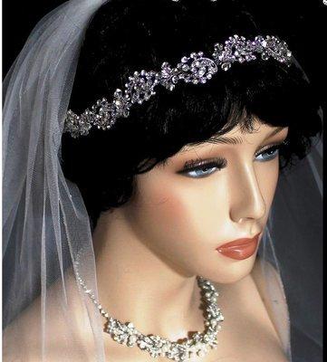 Silver Crystal Flowers Tiara