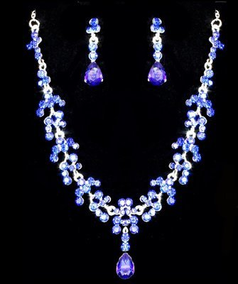 Rhinestone Navy Blue Necklace