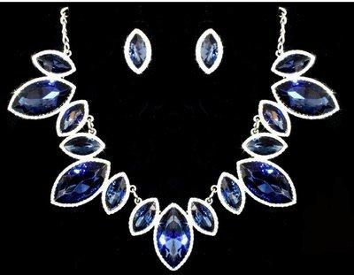 Pear Shape Navy Blue Necklace Set