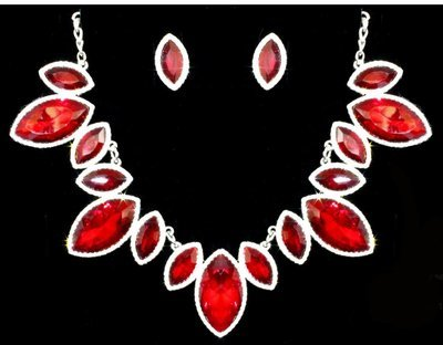 Necklace Set-Pear Shape Stones RED