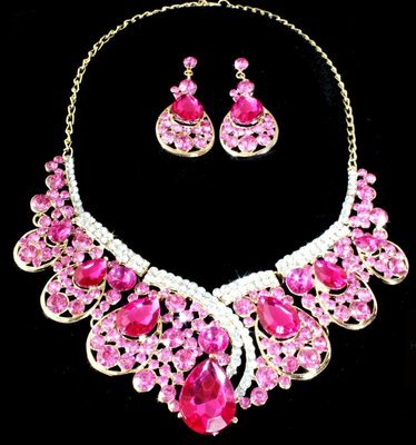Pink Stone Necklace Set