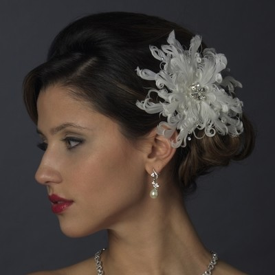 Crystal & Rhinestone Feather Flower Hair Clip