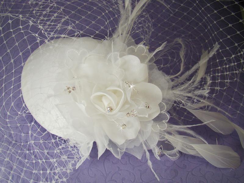 Vintage Bridal Hat w/ Bird Cage Face Veil